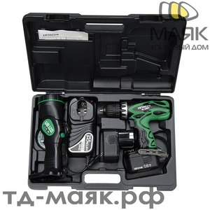 Шуруповерт акк HITACHI DS12DVF3-TВ+фонарь, 12V, 2*2,0А/ч,26Нм, 0-300/1100об/мин,1,7кг